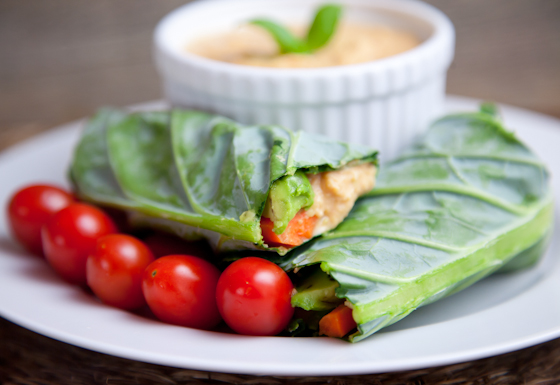 Collard Green Wraps with Hummus