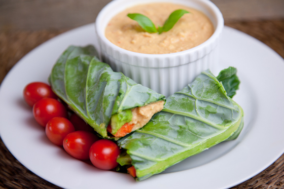 Red Pepper Hummus Wraps