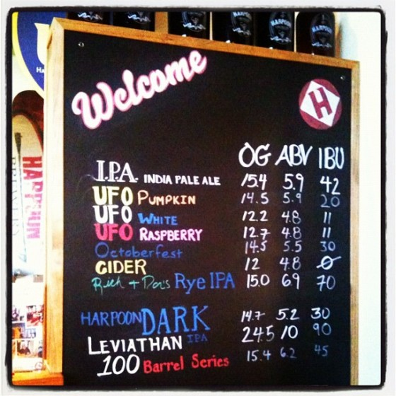 Harpoon Brewery Beer Menu