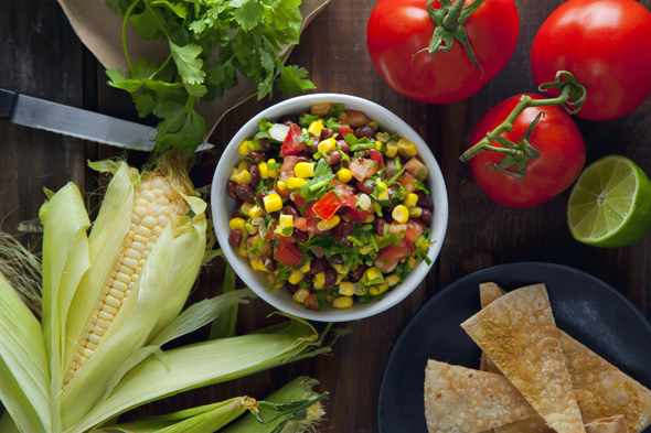 Black Bean & Corn Salsa with Cheesy Baked Tortilla Chips (Vegan, Gluten-Free) | picklesnhoney.com