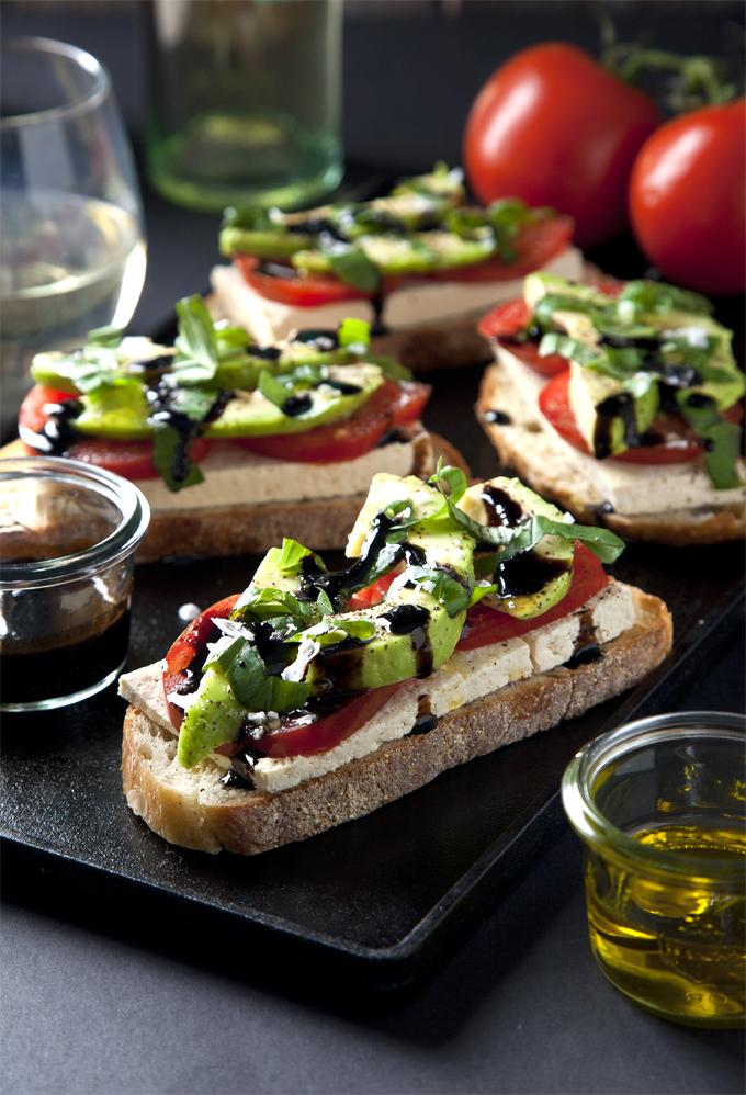 Open-Faced Vegan Caprese Sandwiches   picklesnhoney.com